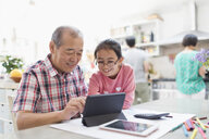Grandfather and granddaughter using digital tablet in kitchen - CAIF22344