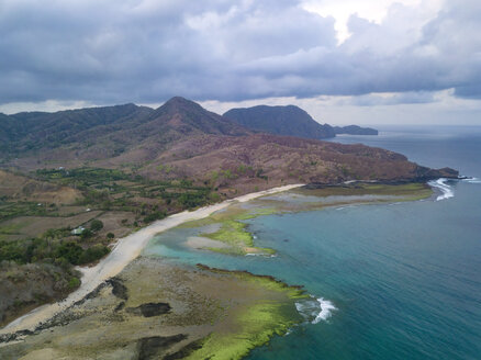 Indonesia, West Sumbawa, Maluk beach, Aerial view of Super Suck surf point - KNTF02417