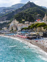 Italy, Amalfi, view to the historic old town with beach in the foreground - AMF06344