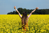 Germany, Lower Saxony, young woman raising arms in rape field, rear view - KLR00772