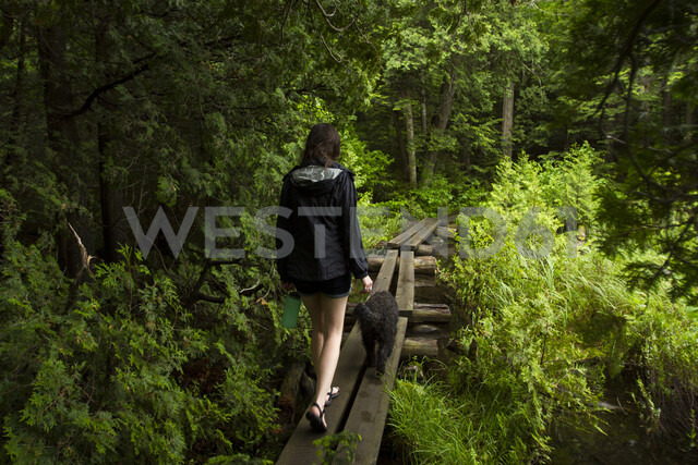Rear view of woman with dog walking on boardwalk in forest - CAVF57748