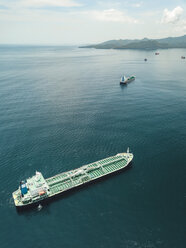 Indonesia, Bali, Aerial view of oil tanker - KNTF02448