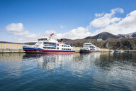 Hokkaido, Shiretoko National Park, Sea of Okhotsk, harbour and vistitor boats - RUN00309