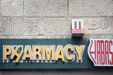 Israel, Jerusalem, sign Pharmacy - PST00276