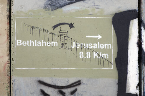 Palestine, West Bank, Bethlehem, Border, Border wall, graffiti - PST00279