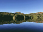 Scenic view of Rucker Lake against clear blue sky - CAVF58624