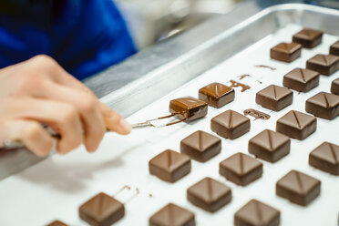 Cropped hand of chef arranging chocolates pieces with dipping fork in tray - CAVF58807