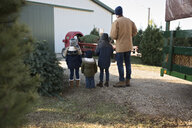 Rear view of father and children looking at Christmas Tree being loaded on vehicle - CAVF58918