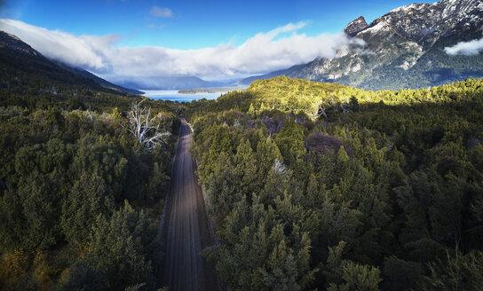Argentina, Patagonia, Lago Futalaufquen, drone picture of gravel road through forest - SSCF00330
