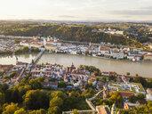 Germany, Bavaria, Passau, City of three rivers, Aerial view, Danube and Inn river, Veste Oberhaus - JUNF01563