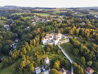 Germany, Bavaria, Passau, City of three rivers, Aerial view of Maria Hilf Church - JUNF01566