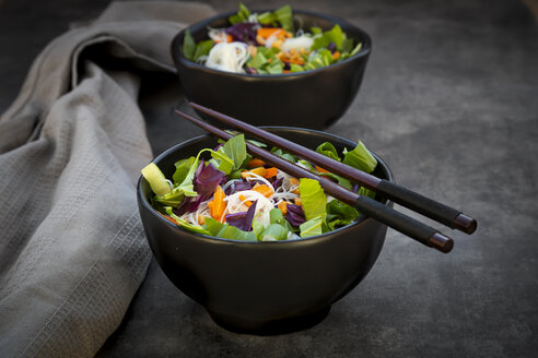 Two bowls of glass noodle salad with vegetables and peanuts - LVF07594