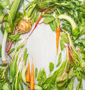 Fresh green vegetables and roots from the garden - INGF09600