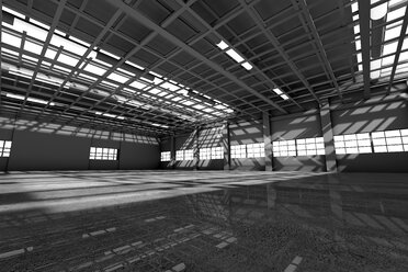 Architecture visualization of an empty warehouse, 3D Rendering - SPCF00296