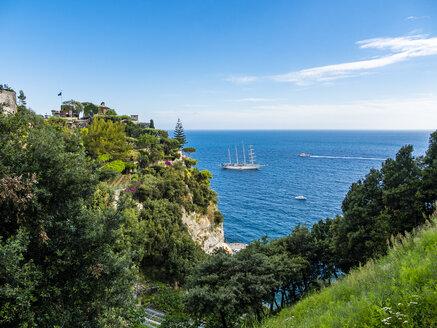 Italy, Campania, Amalfi Coast, Sorrento Peninsula, Positano, Amalfi coast, Sailing ship 'Star Clipper' - AMF06382
