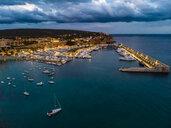 Mallorca, El Toro, Port Adriano at blue hour, aerial view - AMF06387