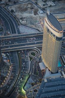 UAE, Dubai, Highrise building in Down Town Dubai - RUN00371