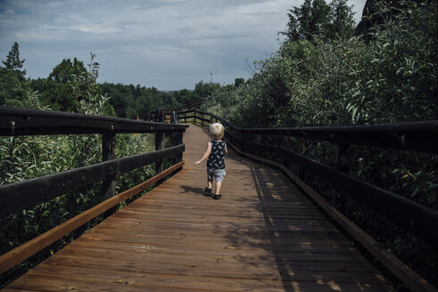 Rear view of baby boy walking on boardwalk by trees against cloudy sky - CAVF59940
