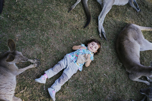 Australia, Brisbane, portrait of smiling little girl lying on a meadow with tame kangaroos - GEMF02681