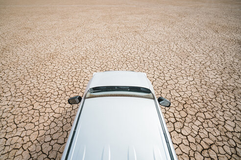 High angle view of off-road vehicle on barren landscape - CAVF60495
