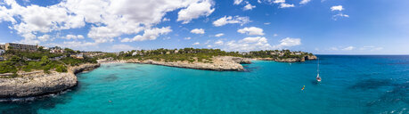 Spain, Baleares, Mallorca, Porto Cristo Novo, Aerial view of Cala Mendia, natural harbor - AMF06434