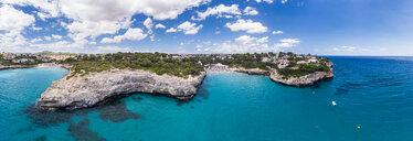 Spain, Baleares, Mallorca, Porto Cristo Novo, Aerial view of Cala Mendia, natural harbor - AMF06437