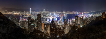 Hong Kong, Causeway Bay, panorama cityscape at night - DAWF00787
