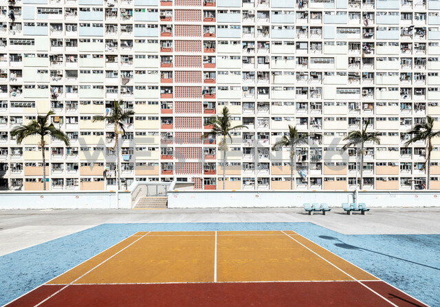 Hong Kong, Choi Hung, sports field in front of an apartment block - DAWF00790