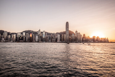Hong Kong, Tsim Sha Tsui, cityscape at sunset - DAWF00814