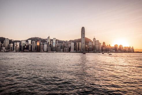 Hong Kong, Tsim Sha Tsui, cityscape at sunset - DAWF00814