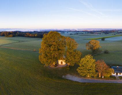 Germany, Upper Bavaria, Aerial view of Maria Dank Chapel on Fuerstenberg, Starnberger See in the background - SIEF08233