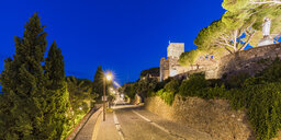 France, Provence-Alpes-Cote d'Azur, Cannes, Le Suquet, Old town, Mont-Chevalier, Castle ruin, Musee de la Castre at blue hour - WDF04928