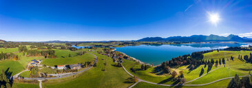 Germany, Bavaria, East Allgaeu, Region Fuessen, Dietringen, Aerial view of Forggensee lake - AMF06448