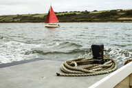 A sailing boat with bright red sails on the water, seen from another boat. - MINF09824