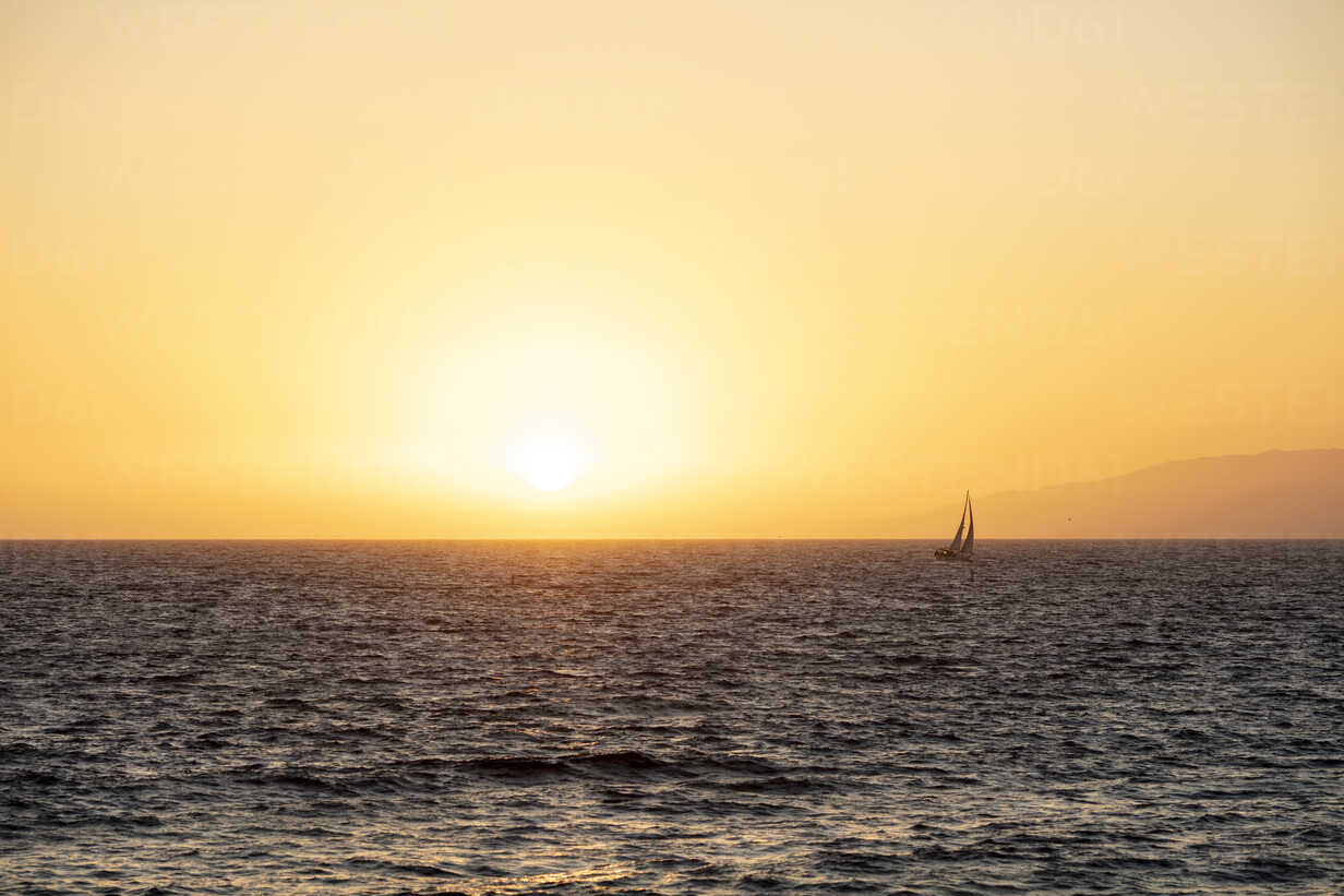 USA, California, Santa Monica, sailboat on the sea in backlight - DAWF00875 - Daniel Waschnig Photography/Westend61
