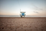 USA, California, Santa Monica, lifeguard hut on the beach at twilight - DAWF00878