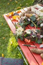 Autumnal wreath with hortensia, pine cones and ivy on garden table - OJF00290
