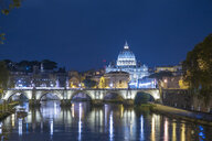 Italy, Rome, Vatican, St. Peter's Basilica and Ponte Sant'Angelo at night - HAMF00551
