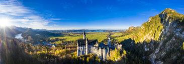 Germany, Bavaria, Hohenschangau, Aerial view of Neuschwanstein Castle in autumn - AM06462