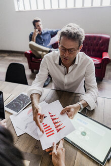 Businessman analyzing a bar chart in office - GIOF05199