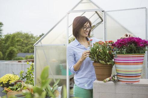 Woman working in greenhouse - HEROF00167