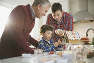 Three generation males decorating gingerbread house at Christmas - HEROF00467