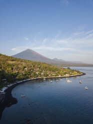Indonesia, Bali, Amed, Aerial view of Jemeluk beach and volcano Agung - KNTF02563