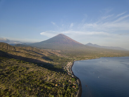 Indonesia, Bali, Amed, Aerial view of Jemeluk beach and volcano Agung - KNTF02566