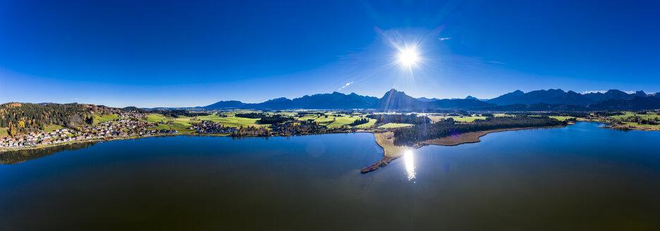 Germany, Bavaria, East Allgaeu, Fuessen region, Hopfen am See, Aerial view of Hopfensee - AMF06493