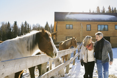 Couple walking by horse ranch in snow - HEROF01111