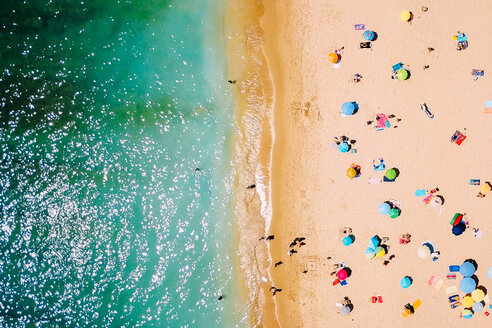 High angle view of people relaxing on the sand at the beach - INGF10681