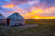 Yurts in sunset, song kul, kyrgyzstan - INGF11099