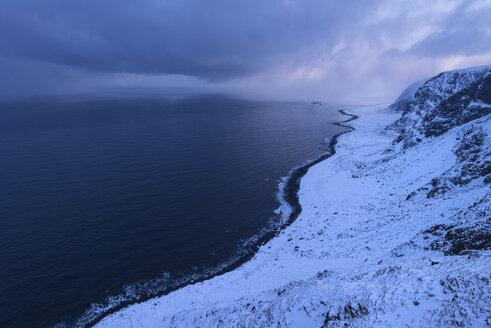 Vestvagoya coastline in winter, Lofoten, Norway - AURF07919