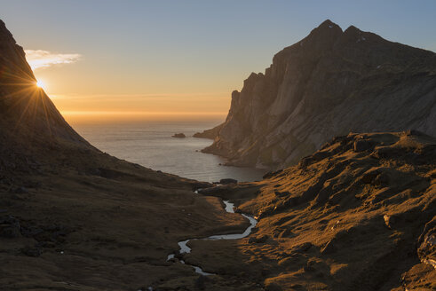 Valley above Bunes beach at sunset, Moskenesoya, Lofoten Islands, Norway - AURF07928